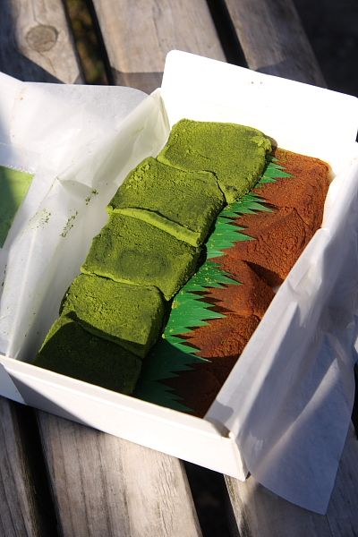 Warabi mochi covered with matcha and cinnamon | Kyoto, Japan わらび餅