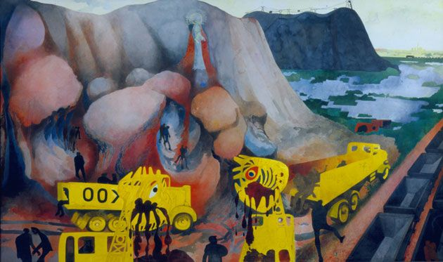 Edward Burra (Picking a Quarrel 1968/9). Here he shows monster-like machinery ripping the landscape apart. The workers's appear as dark shadows.  Above the central tunnel a shrine likely influenced by the religious shines in Latin countries. Burra was very interested in the 'spirit of place' and supernatural powers of landscapes. The workers in the tunnels appear to have met their ends - maybe as offerings to the gods -through divine retribution for 'picking a quarrel' with the landscape.