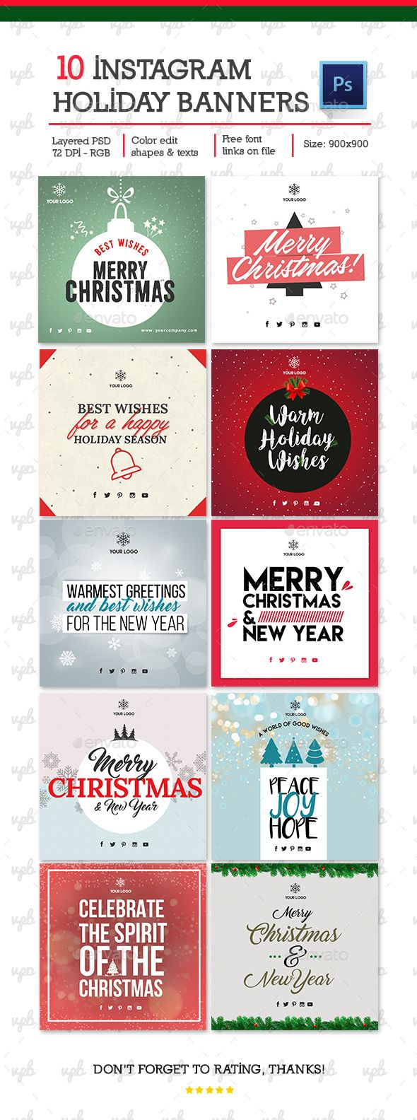 10 Christmas  Holiday Instagram Banners — Photoshop PSD #greetings #post • Download ➝ https://graphicriver.net/item/10-holiday-instagram-banners/19053273?ref=pxcr