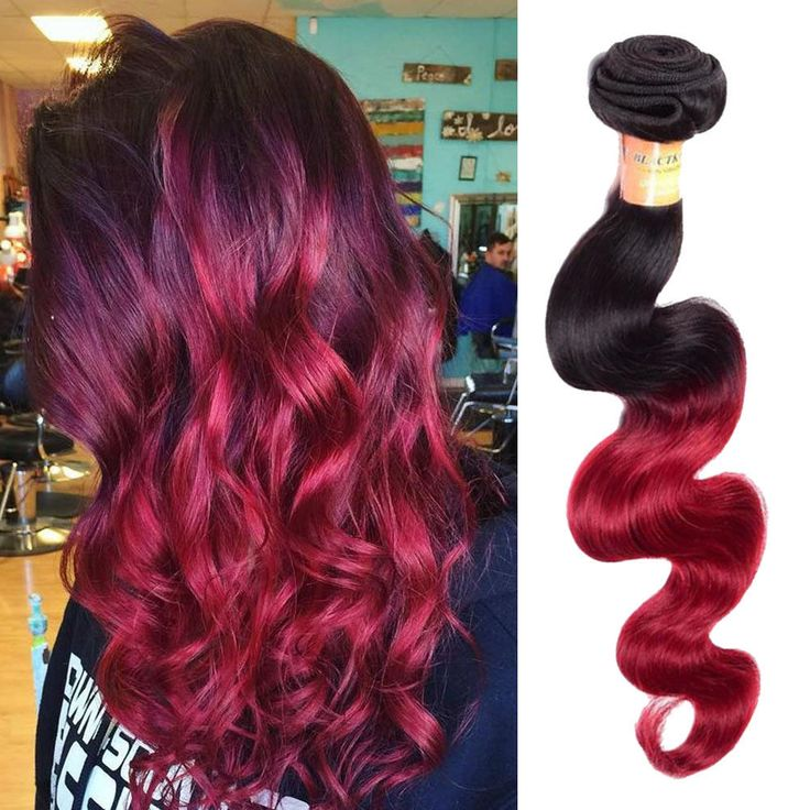 """3Bundles 16"""" 150g Real Human Hair Extension Ombre Hair Body Wave 1B/BURG #Unbranded #Ombr"""