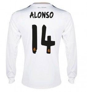 13/14 Real Madrid Manica Lunga Calcio Maglia # 14 ALONSO Maglia Bianca