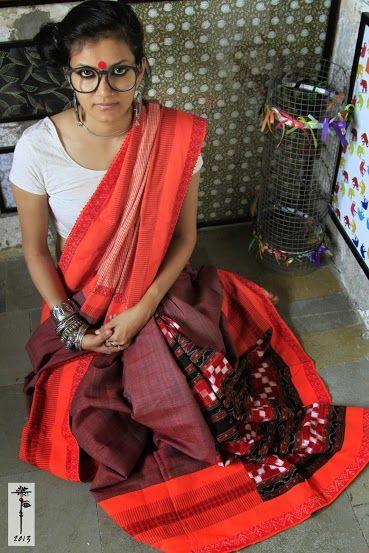 Tribal Odisha Sambhalpuri cotton saree..... luv the muted, yet fiery colors