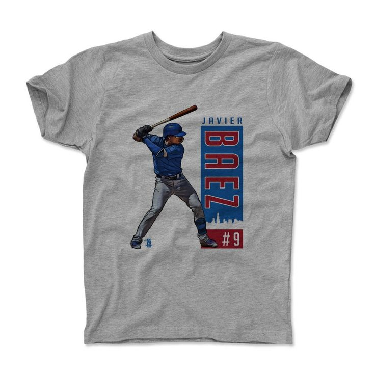 Javier Baez Outline B Chicago MLBPA Officially Licensed Toddler and Youth T-Shirts 2-14 years