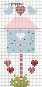 March Bird House – Cross-Stitch