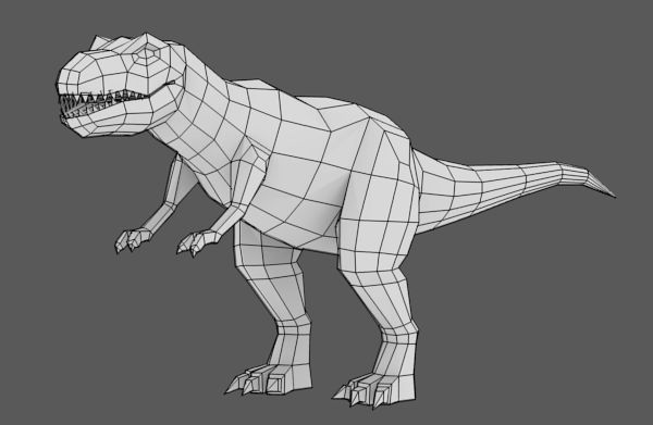 Blender Character Modeling Tutorial Beginner : Modeling uvmapping and texturing a low poly t rex in
