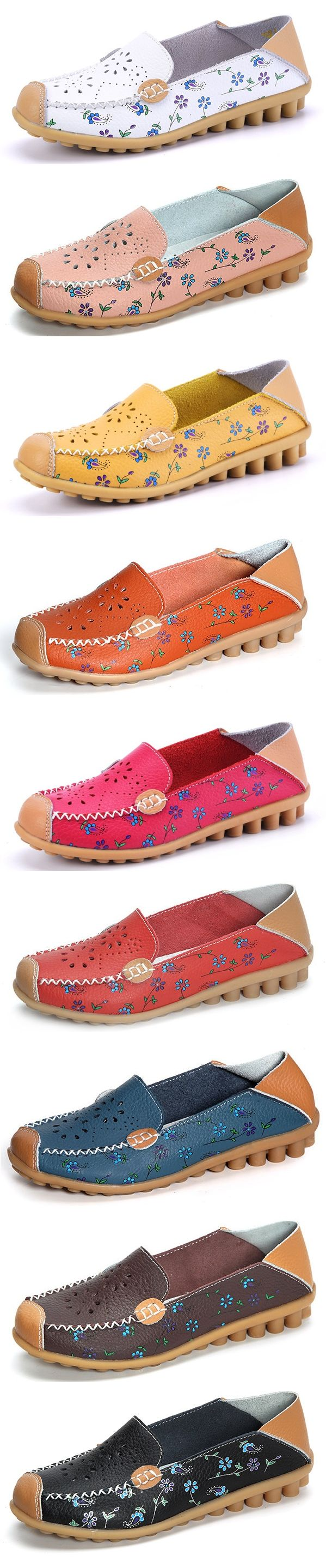 US$16.07 Floral Print Hollow Out Breathable Color Match Casual Slip On Flat Shoes