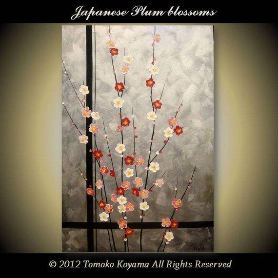 "Original impasto Art  Painting on Canvas 24"" x 36"", Home Decor, Wall Art ---Japanese Plum Blossoms--- by Tomoko Koyama on Etsy, $199.00"