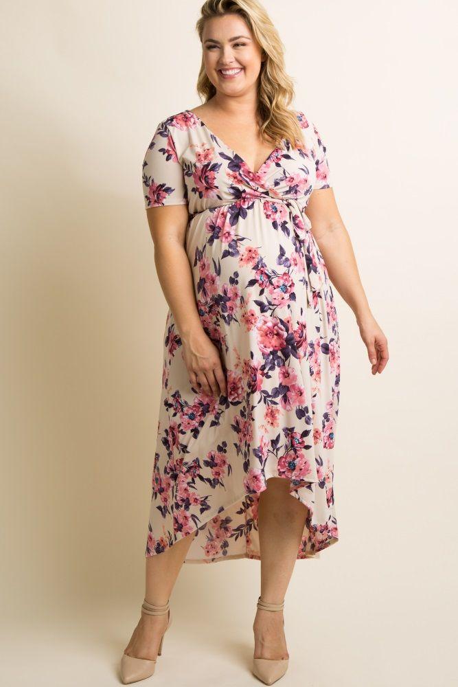 5e5646e6715c1 Ivory Floral Hi-Low Plus Maternity Midi Dress