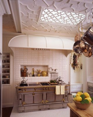 Remember when recessed ceiling lights were all the 1980's kitchen?  Now you can turn them into a stunning faux skylight in an Old English-style ceiling.  This is what our plaster ceiling panels (#25001B) look like in place.