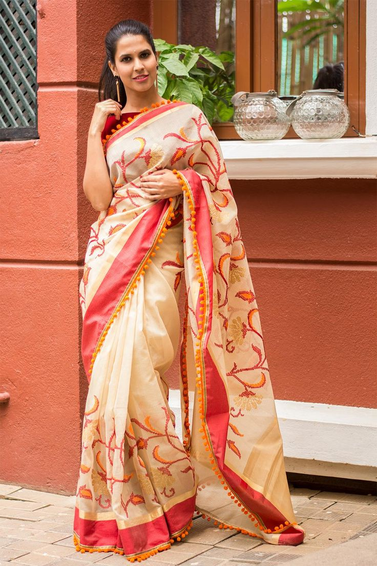 Pom-poms are not only for cheering. They make for a fun saree border too! These…