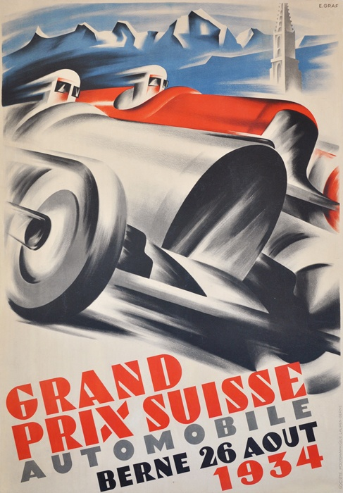 One of the most famous, powerful and important Art Deco images ever done. This image was used on the cover of the book and slipcase on The Swiss Grand Prix (illustration by E. Graf)