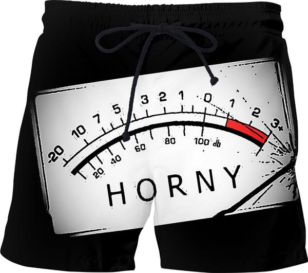 #Horny, out of scale, #funny #swim #shorts design, #kinky #pants, #music volume scale - item printed by www.rageon.com/a/users/casemiroarts - also available at www.casemiroarts.com