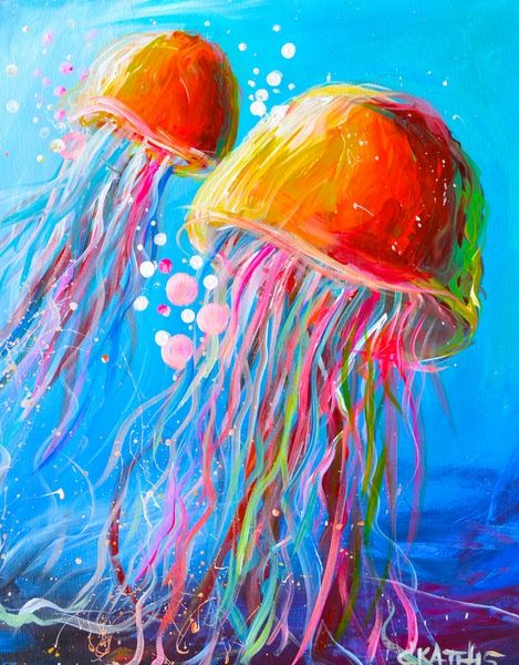 "Join us Saturday, February 28th at 7pm to paint ""Electric Jellyfish""! - Create, Mix and Mingle Art and Entertainment Studio Meet-ups (San Mateo, CA) - Meetup"