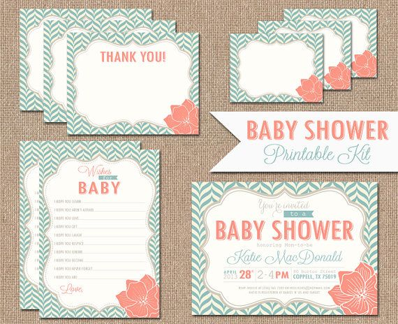 Baby Shower Invitation Package! Invitation, Thank You Cards, Wishes for Baby Cards and Foldable Tent Labels