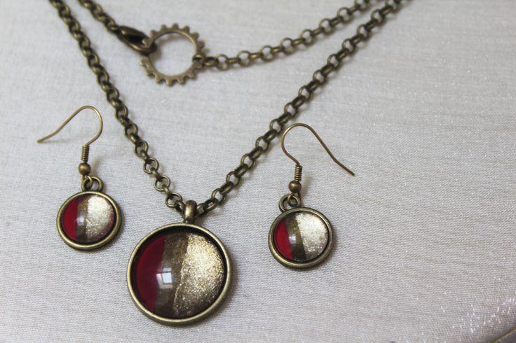Parure orecchini e collana con vetro smaltato color rosso e oro di theKikish su Etsy
