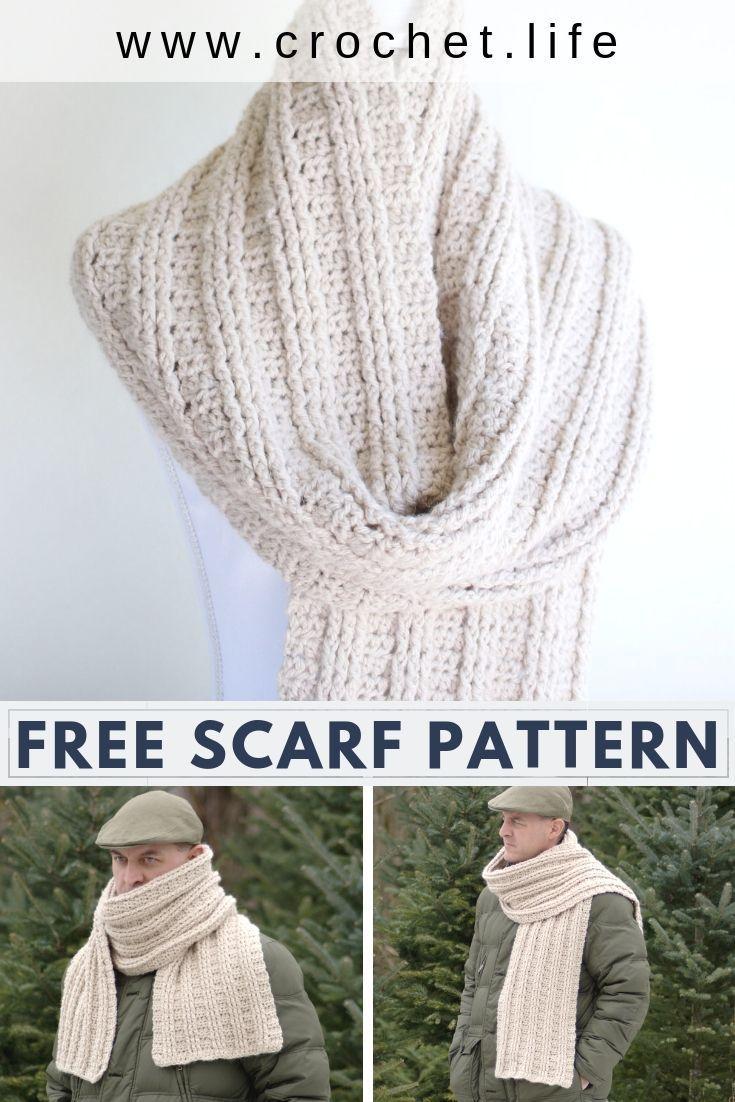 Free Scarf Crochet Patterns In 2020 Crochet Scarf Pattern Free Crochet Mens Scarf Scarf Crochet Pattern