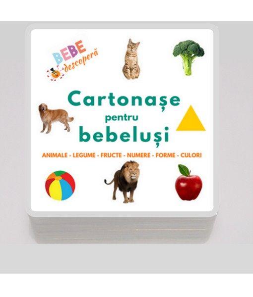 Cartonase pentru bebelusi + 20 de jocuri distractive. Cartonașele au imagini viu colorate, grosimea de 1,5 mm și au colțurile rotunjite. 48 de carduri din