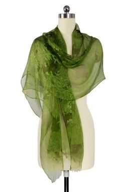 Olive Lace Print Silk Scarf
