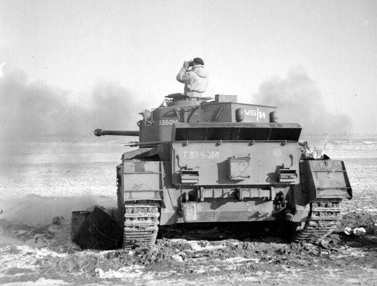 A34 Cruiser tank Comet Mk I of the British 11th Armoured Division on the firing range at Gravelines, January 1945