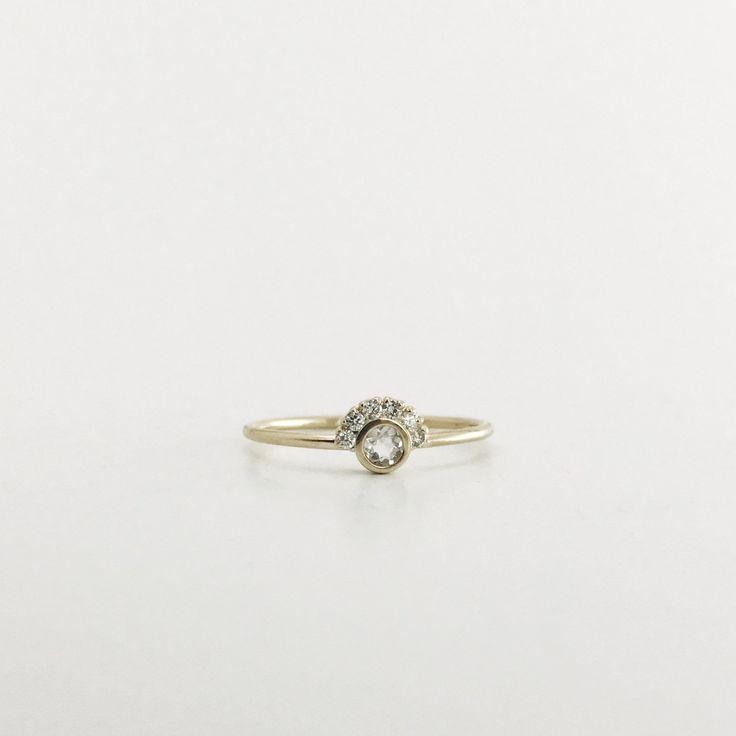 Rainbow Moonstone & Diamond Aztec Ring