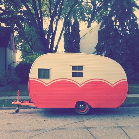 Our mobile vintage shop in a 1956 Cardinal trailer, Olive!