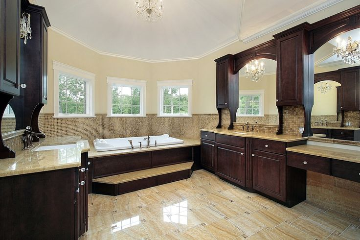 With a lighter wood it'd work for me.  Large custom bathroom with bay windows and extensive custom dark wood work