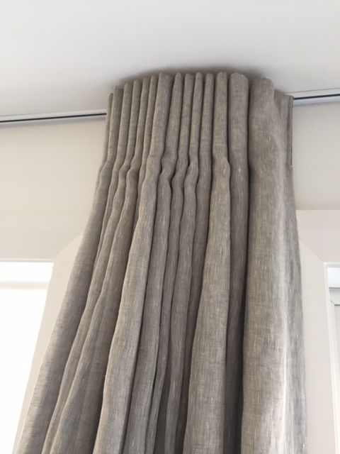 Top mounted track   Colour White Soft fold pleat extra deep   Lined curtain