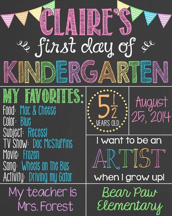First Day of School Chalkboard Poster First Day of Kindergarten