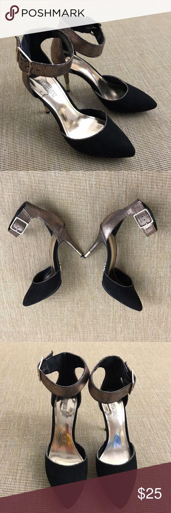 Jennifer Lopez Black Leather Gold Stilettos Sz 7 M NEW Jennifer Lopez Black suede stilettos  with Gold animal skin Texturing. Sz 7 M. Stunning and sexy. Jennifer Lopez Shoes Heels