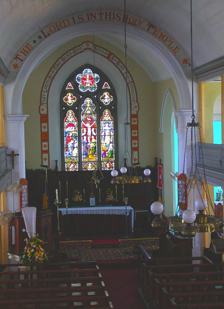 Altar and stained glass window at St.Lucy Anglican Church in Barbados
