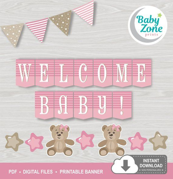 5c585edbc7d5 Teddy Bear Welcome Baby! Printable Banner Pink Baby Girl Baby Shower ...