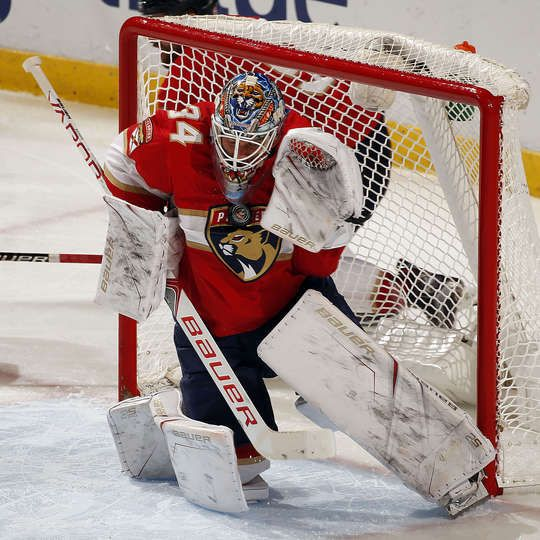 SUNRISE, FL - DECEMBER 23: Goaltender James Reimer #34 of the Florida Panthers makes a stop against the Ottawa Senators in the third period at the BB&T Center on December 23, 2017 in Sunrise, Florida. (Photo by Eliot J. Schechter/NHLI via Getty Images)