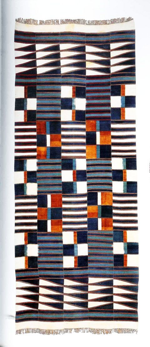 Handwoven West African fabric - from the book African Textiles by John Gillow, that showcases some of the most beautiful weaving, dyeing, and embroidery techniques used in textile history.