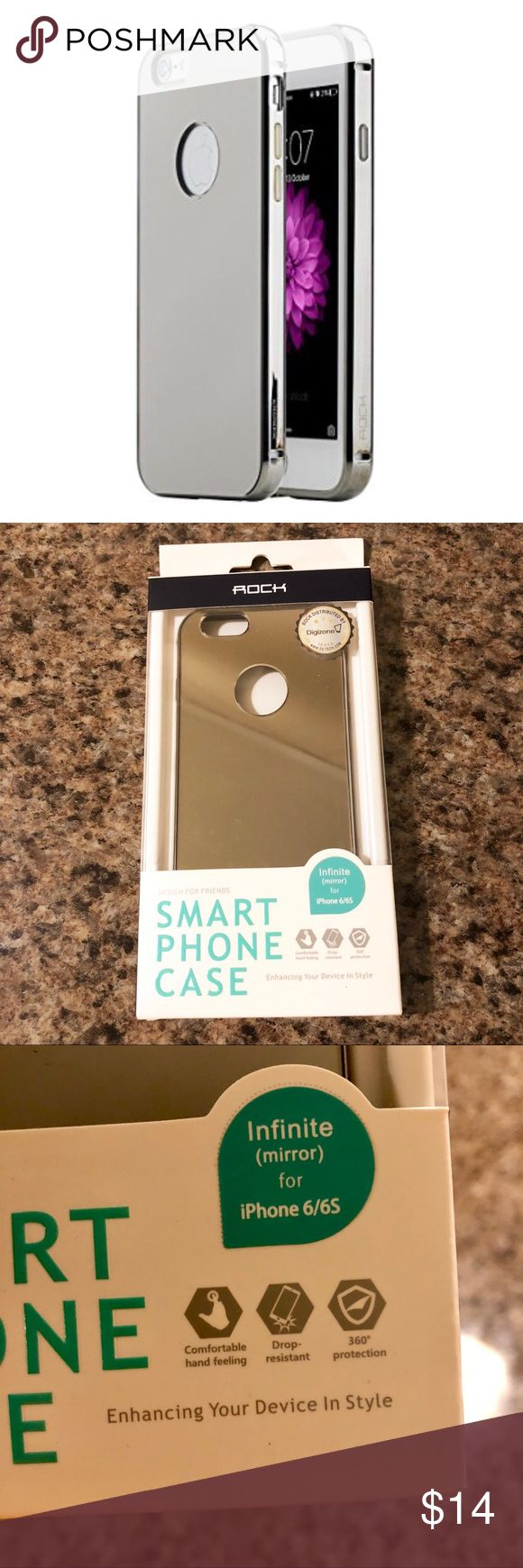 Rock Infinite Mirror Case - iPhone 6/6s NEW in box. Rock ® Apple iPhone 6 / 6S Infinite Mirror phone case in Space Gray color. With 24K Plated Aluminium Alloy Bumper Case Back Cover. Uses vacuum plating process for the aluminum alloy bumper and PC back panel for a shiny mirror effect. Hidden clasp design makes it easy to snap on or off and protect the device against scratches.  Embedded buttons are stable, durable, easy to press. Reserved signal hole on corners to keep device signal strong…