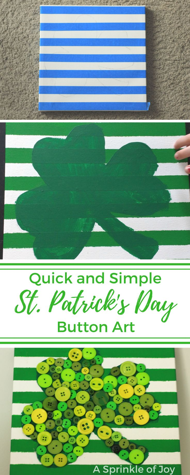 Looking for a fun and easy craft to do for St. Patrick's Day? Check out this shamrock button art. It is quick to do, not difficult, and turns out super cute.