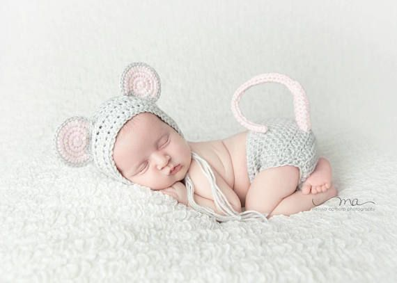 Crochet Mouse Costume baby Hat Mouse Hat Baby animal hat