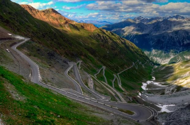 "Stelvio Pass, Italy. Peaking at 9045 feet, the Italian road in the Eastern Alps boasts 75 hairpin turns and has been called the ""best road in the world"" by more ..."