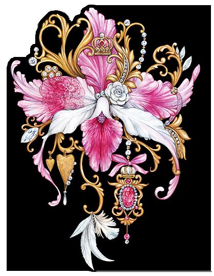 Pink orchid #flower #orchid #jewelry #art #vintage