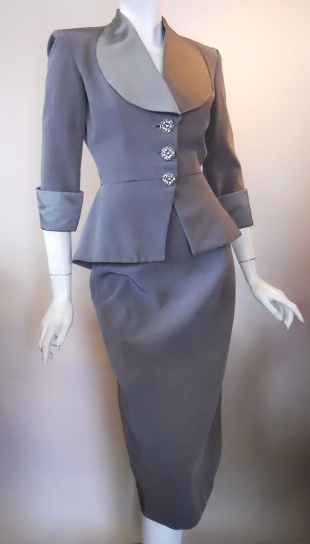 Silk dress suit with rhinestone buttons, Lilli Ann, 1940s.