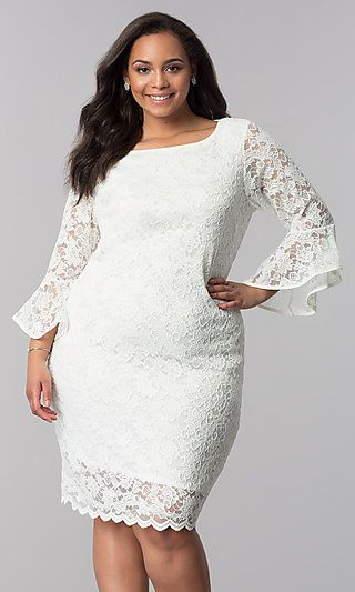 8fa6b7bbf50d Knee-Length White Plus-Size Lace Party Dress in 2019 | Dresses ...