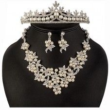 SET bijuterii mireasa Safiria colier cercei tiara diadema cu perle si cristale