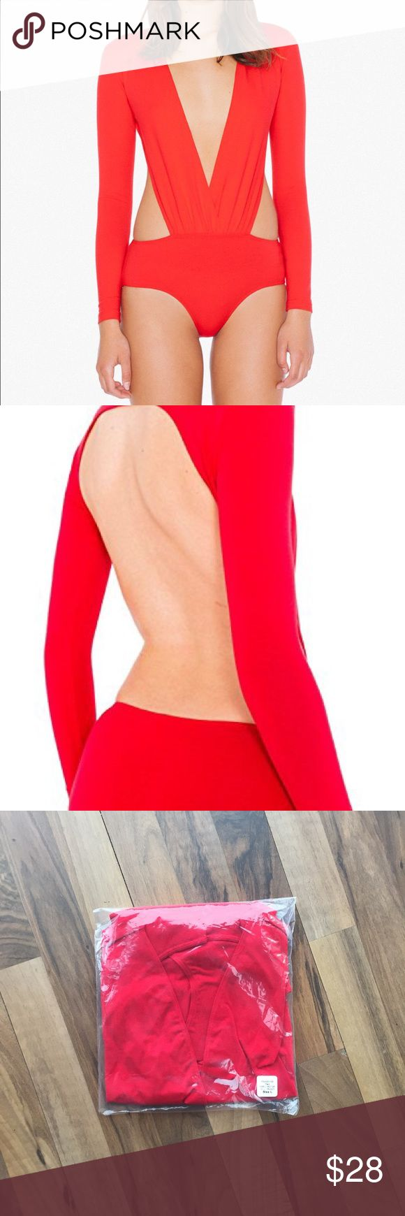 American Apparel Deep V Cutout Bodysuit -- Large Brand new. Still is original shipping package.  Sexy cotton spandex bodysuit with open back, side cutouts, deep v-neck and long sleeves.   95% Cotton 5% Spandex American Apparel Tops