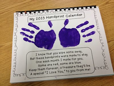 2013 handprint calendar tips, monthly poems, and cover page