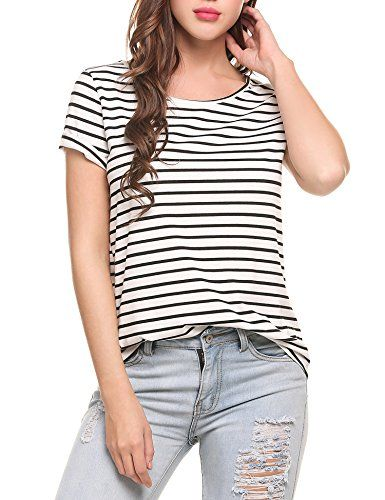 Special Offer: $16.99 amazon.com Material::95% Polyester,5% Spendex Fabric: stretchy, touched softCrew neck, Short sleeve, striped, loose tunic blouse topsCasual tunic tops, basic TShirt, Comfortable Shirt, loose fitSuit for Spring, Summer, Autumn, Winter. Easy to match with any pants or...