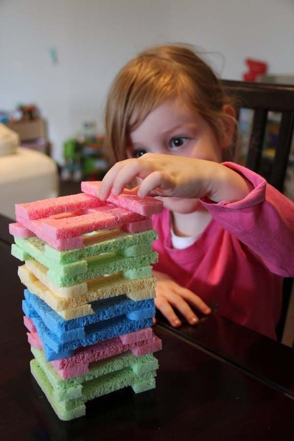 9.) Create a quiet, safe game of Jenga by using cut-up sponges.
