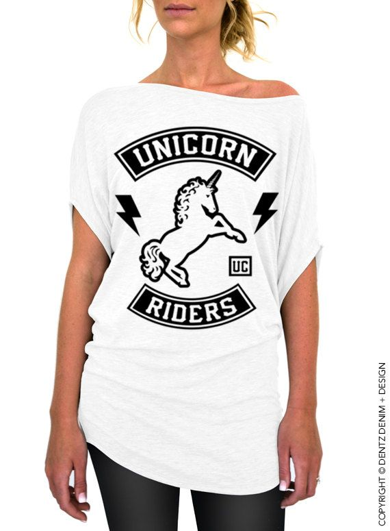 "Use coupon code ""pinterest"" Unicorn Riders Shirt - White Longer Length Slouchy Top (Small - Plus Sizes) by DentzDenim"