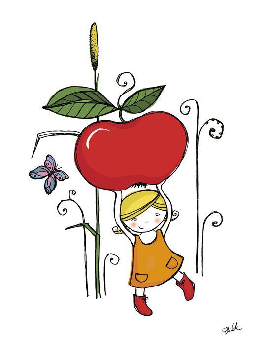 Little gardener picking an apple.