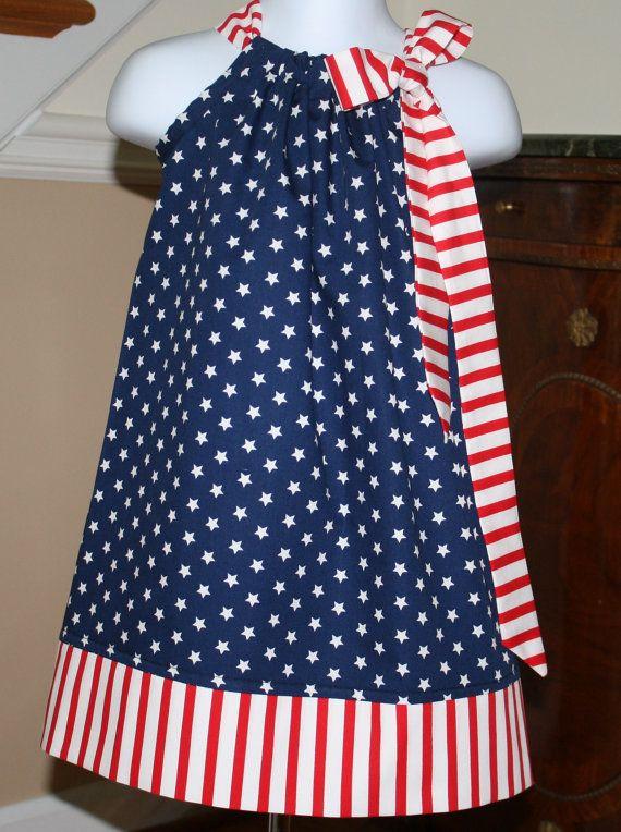 Pillowcase dress - NEW Patriotic Stars Stripes American Flag, Red, White, Blue 4th of July 3 mos thru 4T