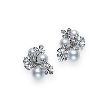 Mikimoto Cultured Pearl, Diamond and 18K White Gold Earrings