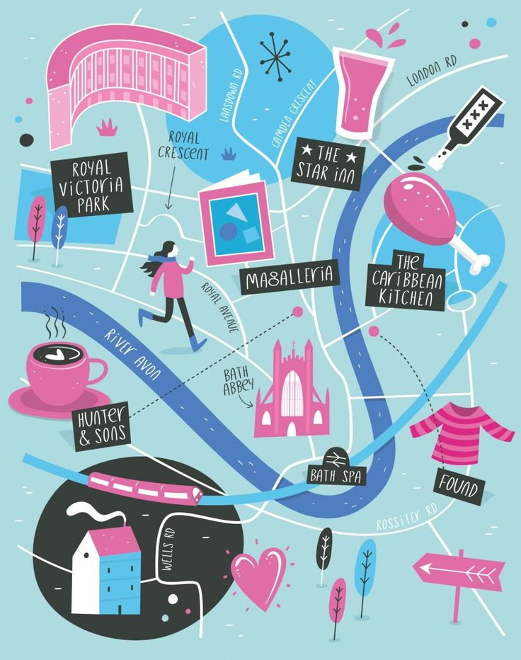 Illustrated map of Bath | Tom Woolley Illustration – Illustrated maps & hand lettering